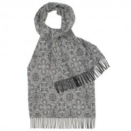 Gråt mønstret tørklæde i lammeuld