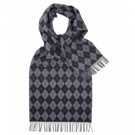 Tørklæde med blå/grå harlekinmønster
