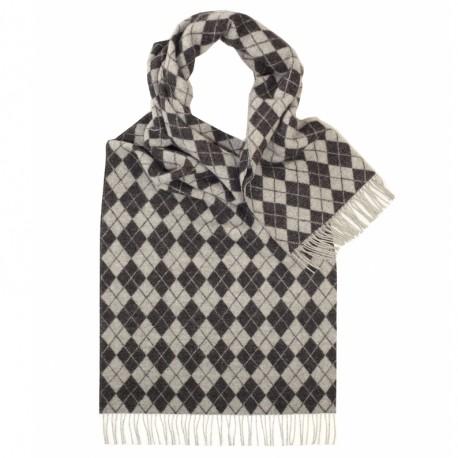 Tørklæde med gråt harlekinmønster