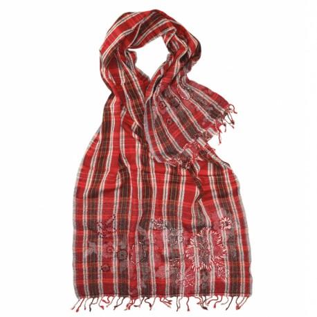 Rødt uldtørklæde med blomsterbroderi