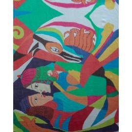 Smukt farverigt cashmere sjal med print
