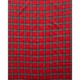 Rødt skotskternet sjal i cashmere og silke