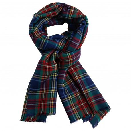 Blåt skotskternet sjal i cashmere og silke