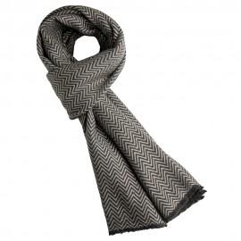 Gråt halstørklæde i sildebensmønstret cashmere/uld