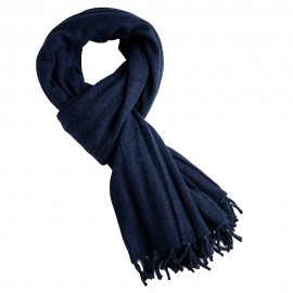 Indigo ribstrikket halstørklæde i merino og cashmere