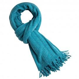 Turkis ribstrikket halstørklæde i merino og cashmere