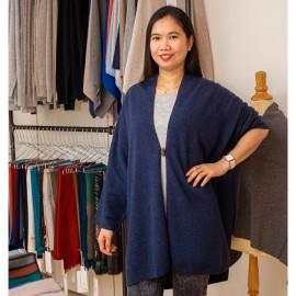 Indigo kimono i lækker merino/cashmere strik