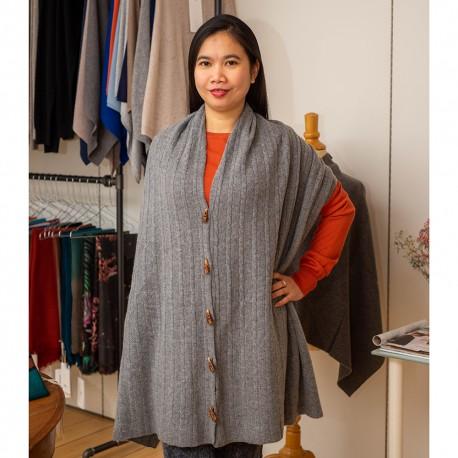 Tørklæde med knapper i grå merino/cashmere