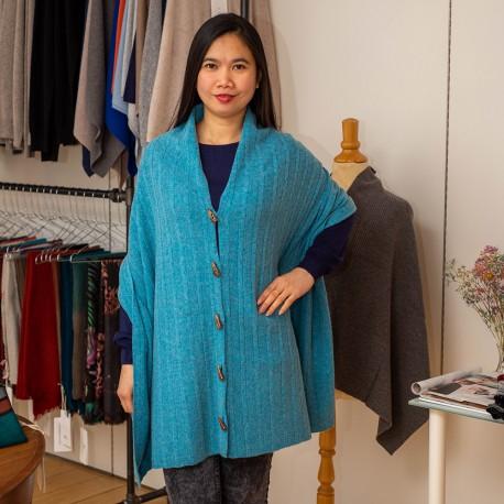 Tørklæde med knapper i turkis merino/cashmere