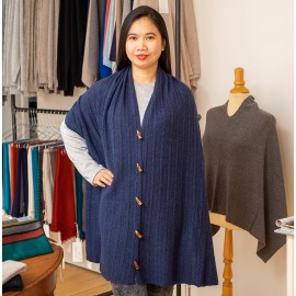Tørklæde med knapper i indigo merino/cashmere