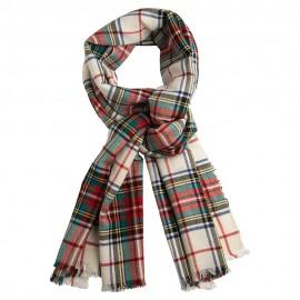 Hvidt skotskternet sjal i cashmere og silke