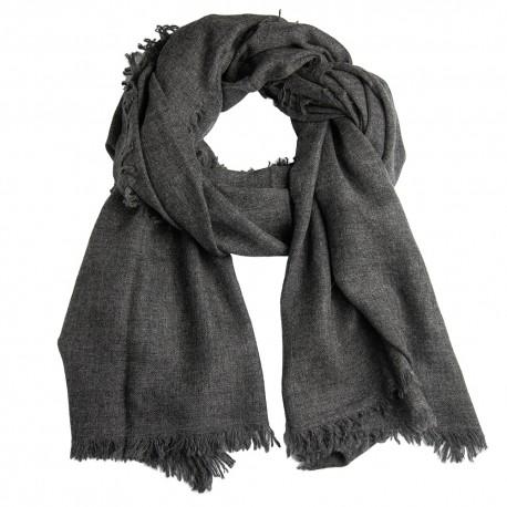 Cashmere tørklæde i mørkegrå melange