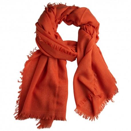 Orange sjal i lærredsvævning