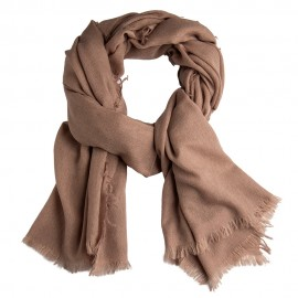 Gråbrunt sjal i lærredsvævning