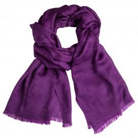 Mørk lilla jacquardvævet cashmere sjal