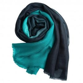 Dip-dye sjal i marineblå/turkis