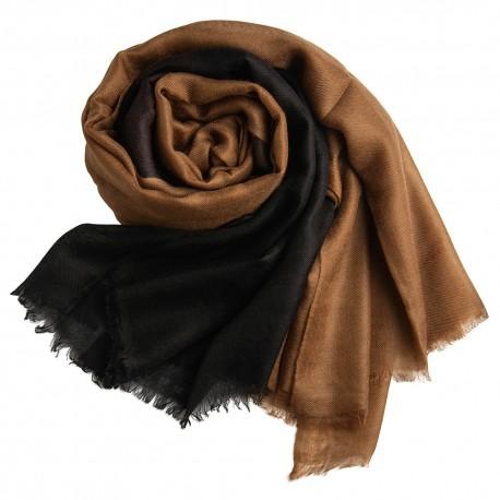 Dip-dye sjal i sort/brun