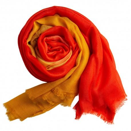 Dip-dye sjal i gylden/orange