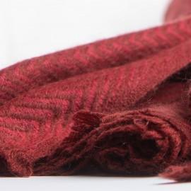 Rødt halstørklæde i sildebensmønstret cashmere/uld