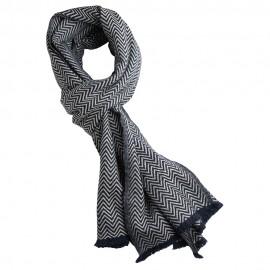 Halstørklæde i navy/råhvidt sildebensmønster