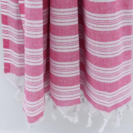 Rødt/hvidt stribet hammam håndklæde