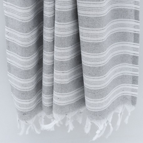 Lysegrå/hvid stribet hammam håndklæde