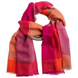 Ternet cashmere tørklæde i rød/orange/violet