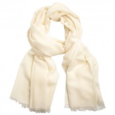 Hvidt pashminasjal i cashmere og silke