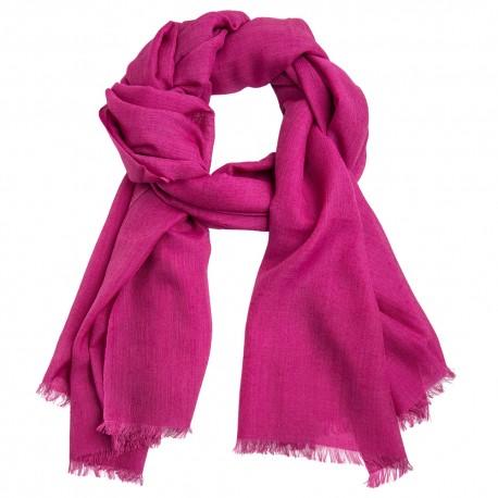 Fuchsiafarvet pashminasjal i cashmere/silke