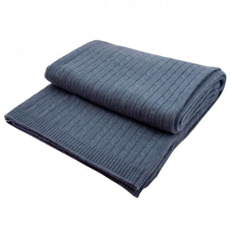Dueblåt tæppe i ren cashmere