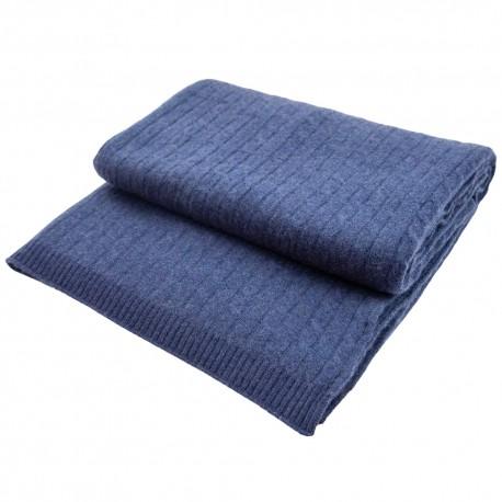 Mørkeblåt tæppe i ren cashmere