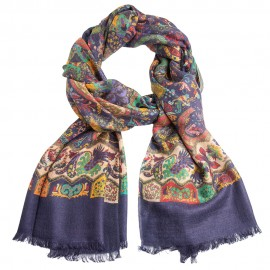 Mørkeblåt paisley tørklæde