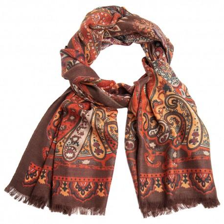 Paisley tørklæde i orange og røde nuancer