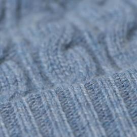 Lyseblå hue i ren cashmere med kvast