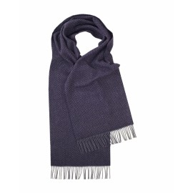 Blåt lambswool tørklæde i sildebensmønster