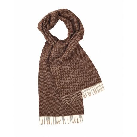 Brunt lambswool tørklæde i sildebensmønster