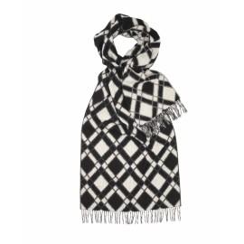 Gråt lambswool tørklæde med kubemønster