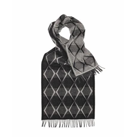 Gråt lambswool tørklæde med grafisk mønster