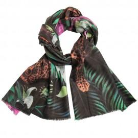 Cashmere sjal med leopard og jungle print