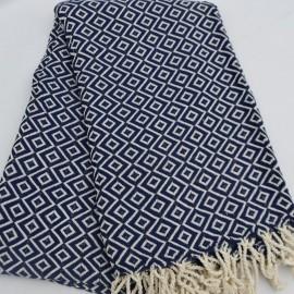 Blåt hammam håndklæde i diamantmønster