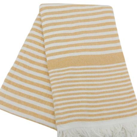 Gult stribet badehåndklæde