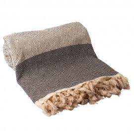 Sort/hvidt sengetæppe i bomuld