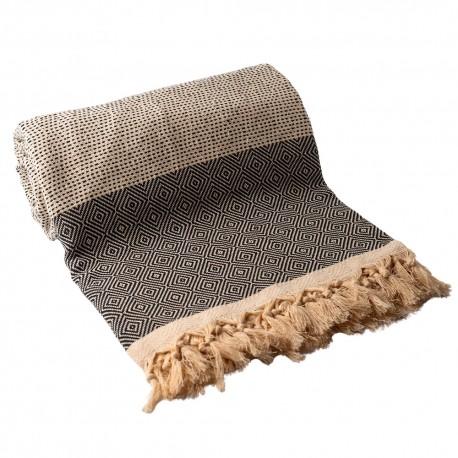 Marineblåt/hvidt sengetæppe i bomuld