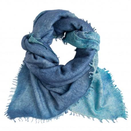 Blåt kvadratisk tørklæde med frynser