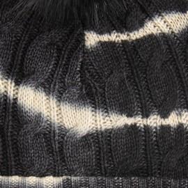 Tie-dye strikhue i sort og hvid