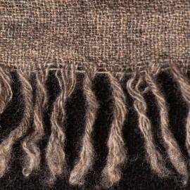 Cashmere tørklæde i naturbrun/sort