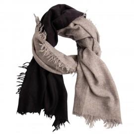 Cashmere tørklæde i naturgrå/sort