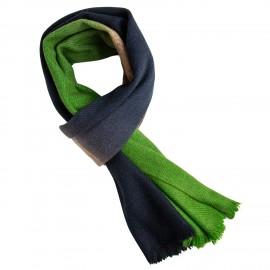 Yak halstørklæde i natur/navy/grøn