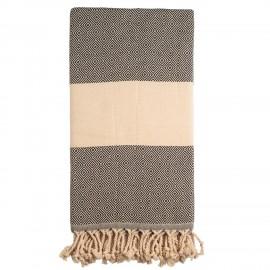 Sort/beige badehåndklæde