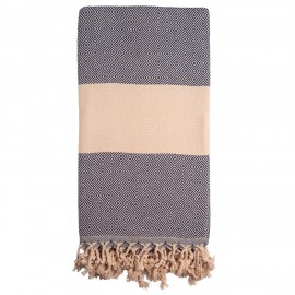 Navy/beige badehåndklæde